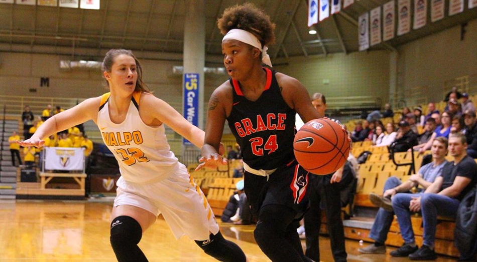 Grace College's Darian Patton competes against Valparaiso Saturday afternoon. (Photo provided by the Grace College Sports Information Department)