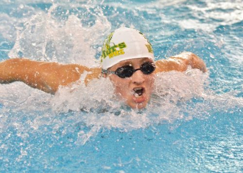 Wawasee's Jake Cowan swims the 100 fly during Saturday's invite. (Photos by Nick Goralczyk)