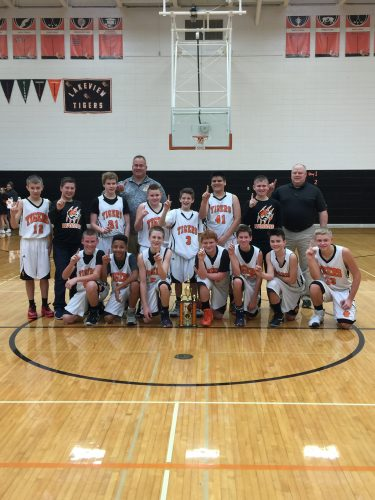 2016 Tiger Invitational champions. In the front, from left, Jack Fitzgerald, Judah Sinfukwe, Seth Hildebrand, Collin Garner, Jack Yeager, Tyler Kuhn and Kyle Dawson. Second row, Elliot Thompson, Trace Stookey, Luke Nier, Jackson Bradley, Will Hotchkin, Michael Ramirez, and manager Aaron McLaughlin. In the back is assistant coach Rick Shepherd and head coach Rocky Goshert. (Photo provided)