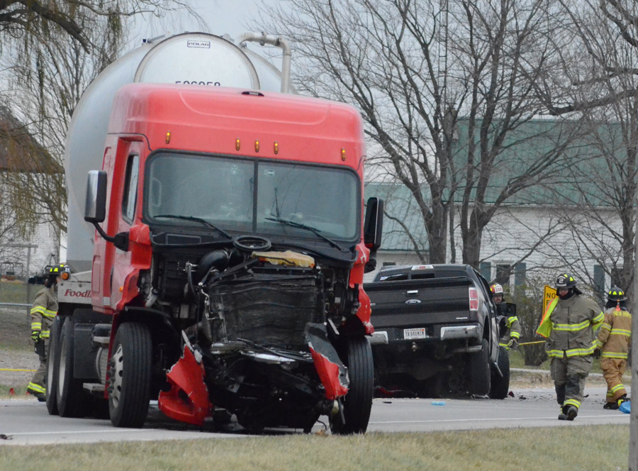 A semi and a pickup truck collided head on on US 6, between CR 123 and CR 25. (Photos by Deb Patterson)