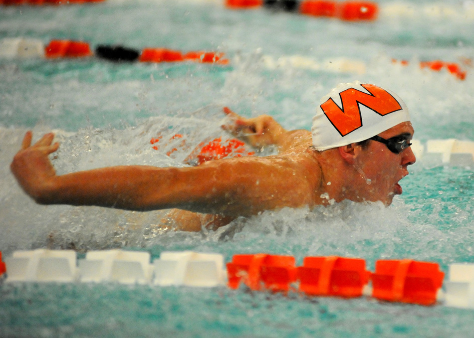 Warsaw's Evan Borchers competes in the medley relay Thursday night against Northridge. (Photos by Mike Deak)