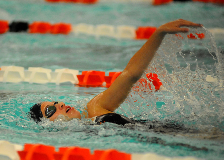 Warsaw's Taylor Gunter competes in the individual medley Thursday night against Northridge.