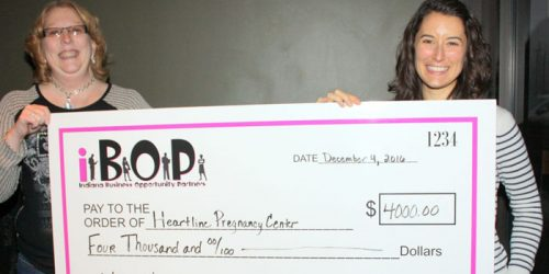 Sunday's check presentation to Heartline Pregnancy Center. Pictured is Betty Swanson (iBOP president) on the left and Shelbi Gillette (client services manager) on the right