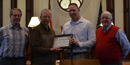 Pictured left to right: Ron Truex, Rich Maron, James Smith, veteran of the month, and Bob Conley.