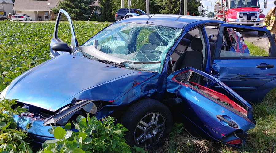 Three people were injured when this Ford Focus was struck by a truck Wednesday, June 27, at Old SR 15 and CR 900N