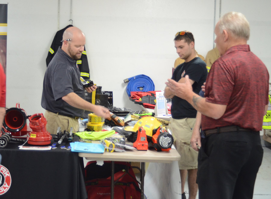 Firefighters have an opportunity to check out products from a number of vendors at the annual fish fry association meeting,