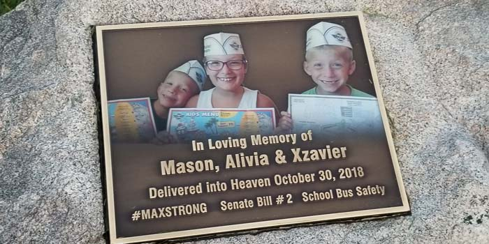 Earlier this month, friends and supporters unveiled a plaque honoring the three victims of the bus crash. The plaque is at Good Family Funeral Home in Rochester. InkFreeNews photo by Dan Spalding.